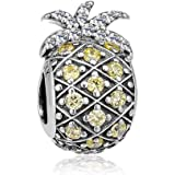 CKK Charm Sparkling Pineapple Fruit Charm Jewelry 925 Sterling Silver DIY Bead Fits Pandora Bracelets and Necklace Women Girl Gift, Light Yellow CZ