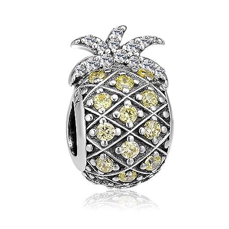 b0b7d2fc0 Amazon.com: CKK Sparkling Pineapple Fruit Charm 925 Sterling Silver DIY  Bead Fits for Pandora Bracelets, Light Yellow: Arts, Crafts & Sewing