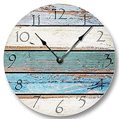 Weathered Beachy Boards wall CLOCK - ocean colors old paint boards printed image - shabby beach wall home decor