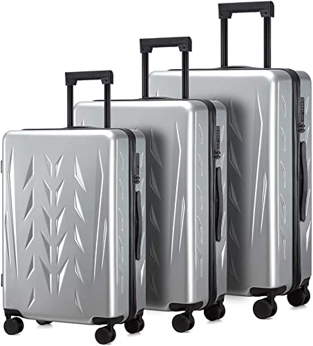 Zion Pishon PC Hardside Luggage with Spinner Wheels, Built-In TSA lock, Carry-On 20-Inch Aluminum White, 3-Piece Set 20 24 28