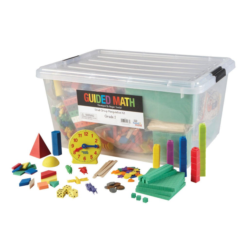 hand2mind Guided Math Small Group Manipulative Kit for Kids (Grade 1+) - Shapes, Counting, Fine Motor Skills, and More | Hands-On Learning Materials to Complete Group Lessons by hand2mind