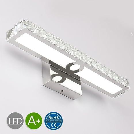 JUSHENG 16W Bathroom Vanity Light, LED Crystal Bathroom Light ...