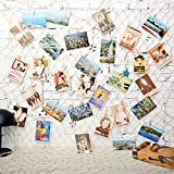 KINGSO 40 x 79 inch DIY Picture Photo Hanging Display Fishing Net Wall Decor with 40Pcs Clips, 40Pcs Hidden Nails, 5Pcs Mediterranean Prop Picture Cards Collage Artworks Organizer White