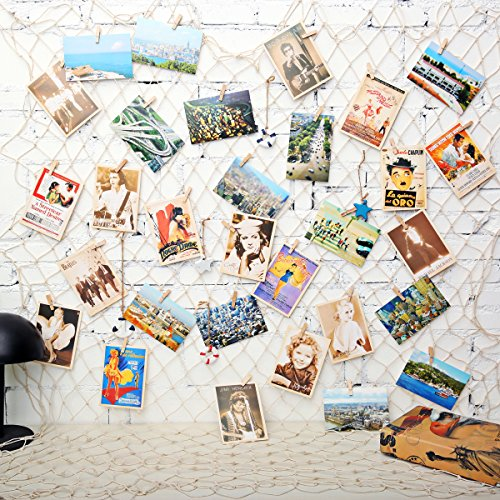KINGSO 40 x 79 inch DIY Picture Photo Hanging Display Fishing Net Wall Decor with 40Pcs Clips, 40Pcs Hidden Nails, 5Pcs Mediterranean Prop Picture Cards Collage Artworks Organizer White by KINGSO