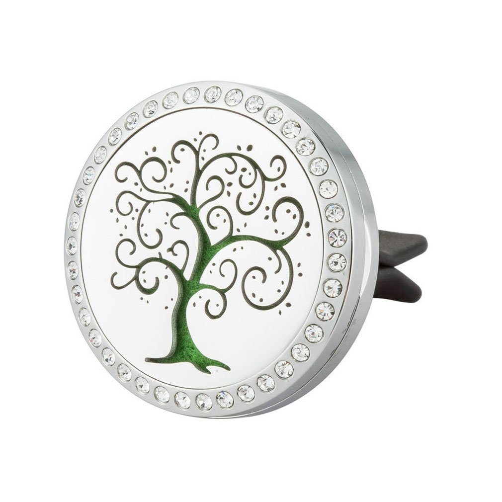 JAOYU Essential Oil Diffuser Aromatherapy Car Freshener Air Vent Clip Stainless Steel Lockets for Men - Tree Of Life Jewelry for Men Gifts