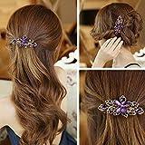A&C Vintage Princess Hair Combs, Fashion Flowers Hair Clips & Headwear for Women. (Purple)