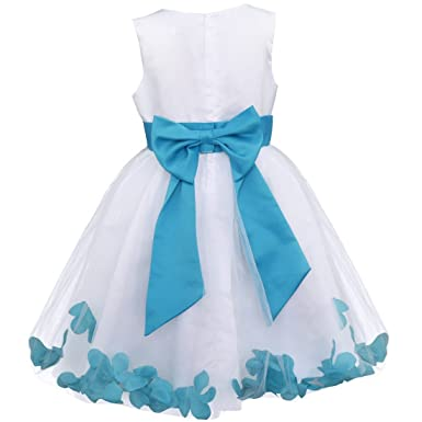 FEESHOW Kids Girls Dress Flower Petals Dress Wedding Bridesmaid Girl Dress Pageant Christening Party Prom Gown
