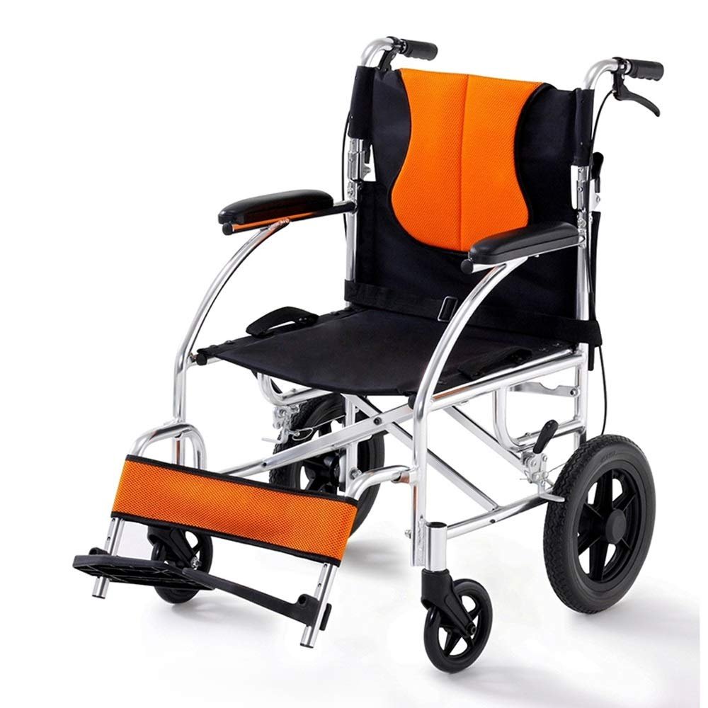 YANGLIYU Wheelchair,Attendant-Propelled Wheelchair,Padded Seat Folding Self Propelled Wheelchair Removable Footrests ,Can Bear 100 Kg (Color : Small Wheel)