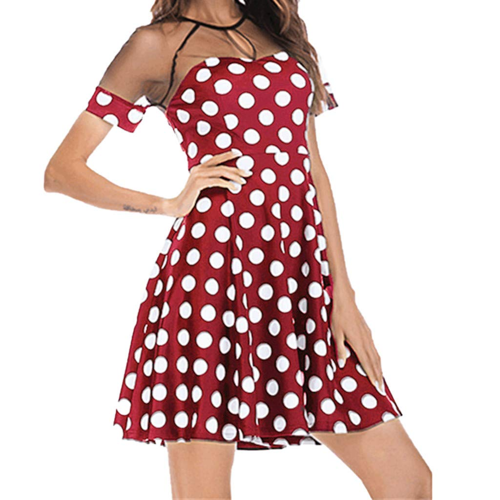 3f374a733e0 Amazon.com: Women Summer Polka Dot Mini Dress Sexy Mesh Short Sleeve ...