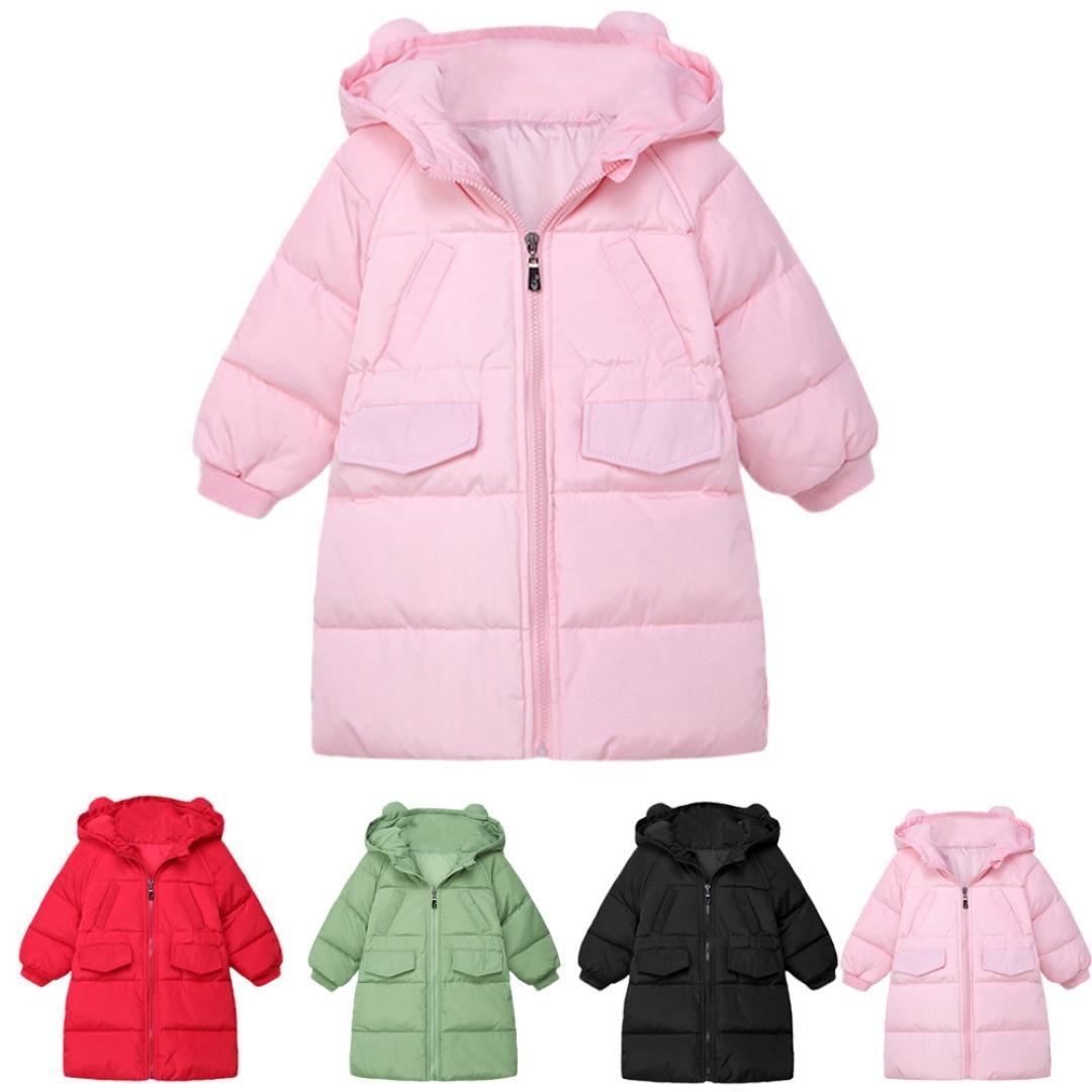 Baby Girls Boys Kid Solid Hooded Down Jacket Winter Warm Parka Outwear Long Coat (4T, Pink)