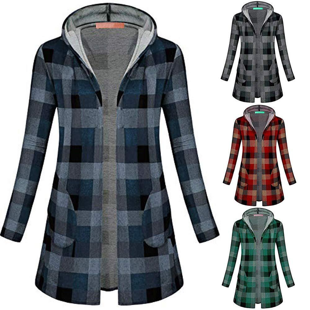9ec146700 Amazon.com: Womens Coats,Winter Open Front Cardigan Coat Plaid Long ...