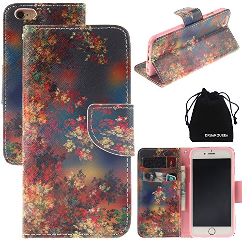 """iPhone 6 & iPhone 6S Case, DRUnKQUEEn Leather Wallet Case Back Cell Phone Shell Skin Magnetic Flap Cover with Credit Card Holder for iPhone6 (4.7"""") / iPhone6S (4.7"""")"""