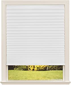 "Easy Lift Trim-at-Home Cordless Pleated Light Filtering Fabric Shade White, 60 in x 64 in, (Fits windows 43""- 60"")"