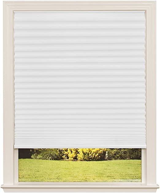 Amazon Com Easy Lift Trim At Home Cordless Pleated Light Filtering Fabric Shade White 48 In X 64 In Fits Windows 31 48 Home Improvement