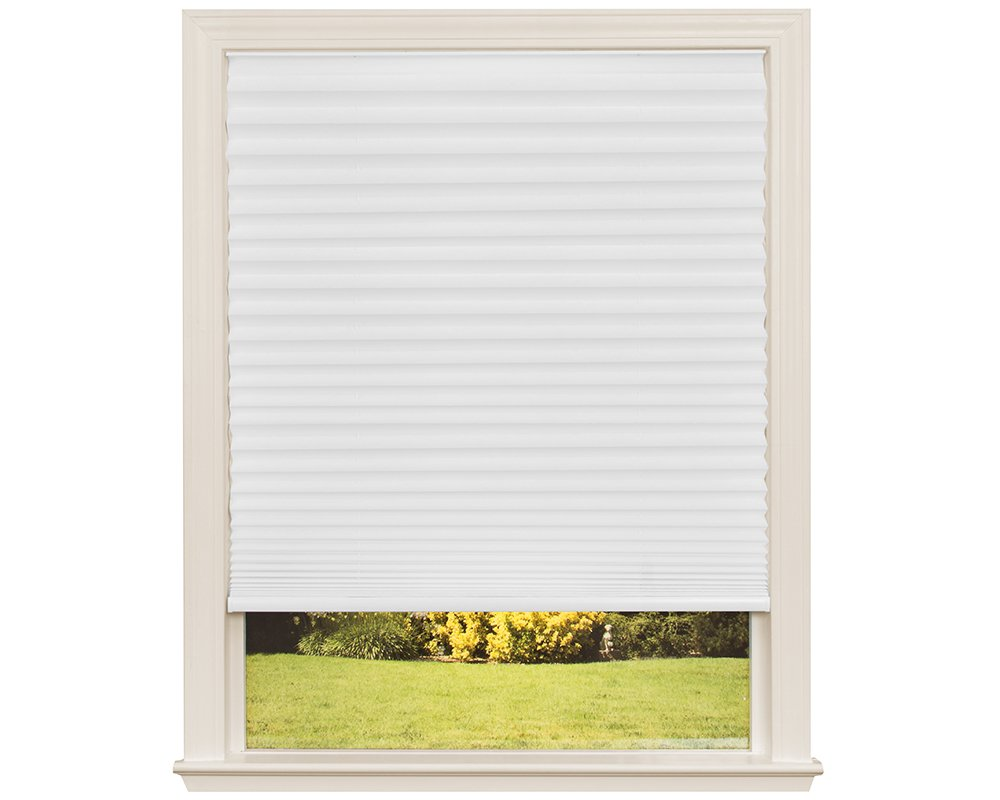 Easy Lift Trim-at-Home Cordless Pleated Light Filtering Fabric Shade White, 36 in x 64 in, (Fits windows 19''- 36'')