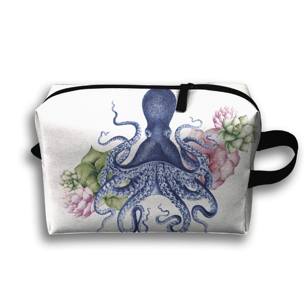 Octopus and Flowers Small Travel Toiletry Bagスーパーライトトイレタリーオーガナイザー一泊旅行用バッグ B07B45C8PL