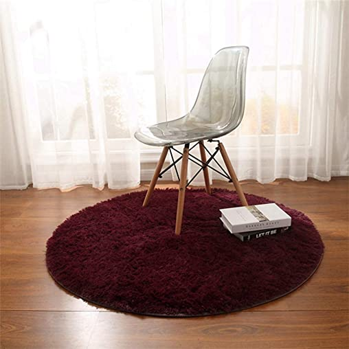 MOXIC Solid Round Area Rugs Soft Shag Living Room Bedroom Children Rug Anti-Slip Plush Carpet Bathroom Mats Circular Modern Home Decorate Nursery Runners Wine Red 6' X 6'