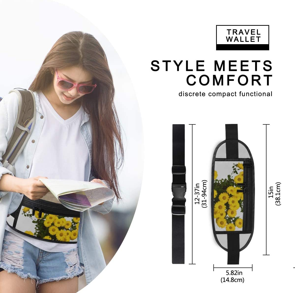Chrysanthemum Flowers Yellow Autumn Pot Isolated Running Lumbar Pack For Travel Outdoor Sports Travel Waist Pack,travel Pocket With Adjustable Belt