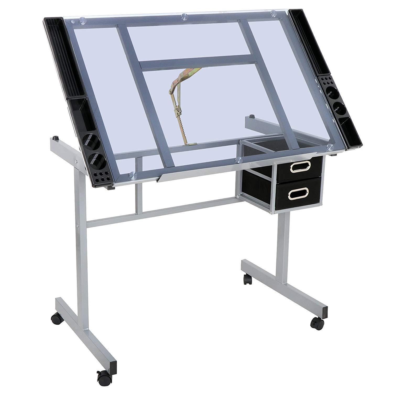 HomGarden Adjustable Drafting Drawing Table Desk Tempered Rolling Glass Top Art Craft Station Desk w/2 Slide Drawers and Castors by HomGarden (Image #2)