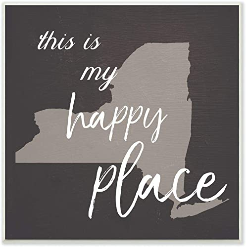 The Stupell Home D cor Collection This is My Happy Place New York Wall Plaque Art, 12 x 12