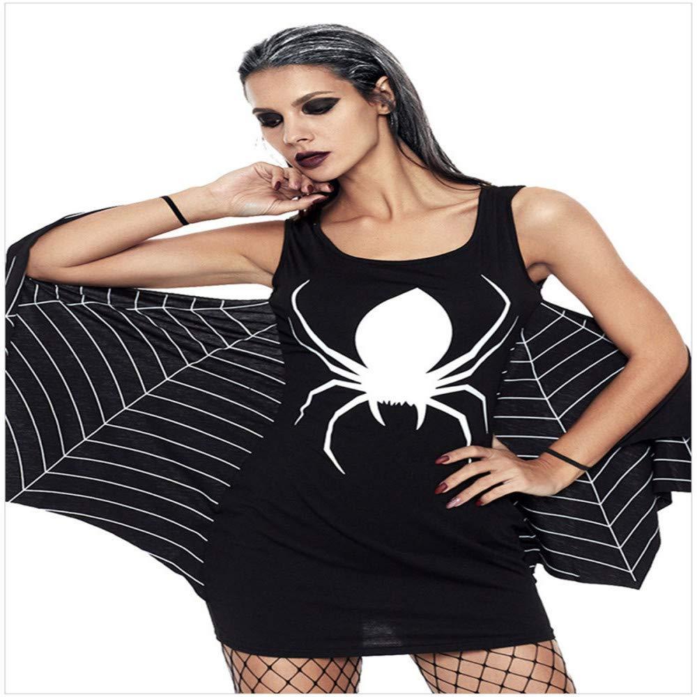 ZGCO Disfraz de Halloween Estampado sin mangas sexy Falda corta ...