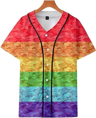 JLTPH Unisexo LGBT Camisa de Beisbol del Orgullo Gay Pride Rainbow Impreso en 3D Manga Corta Cuello V Tshirt Blusa Tops Verano: Amazon.es: Ropa y accesorios