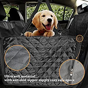 Honest Luxury Quilted Dog Car Seat Covers with Side Flap Pet Backseat Cover for Cars, Trucks, and Suv's – Waterproof…