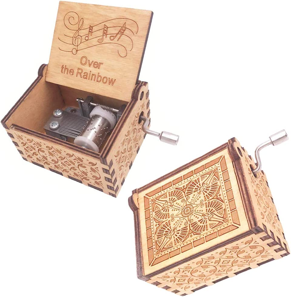 FnLy 18 Notes Wooden Engraved Somewhere Over The Rainbow Music Box,Antique Carved Hand Crank Small Musical Box Gift,Brown