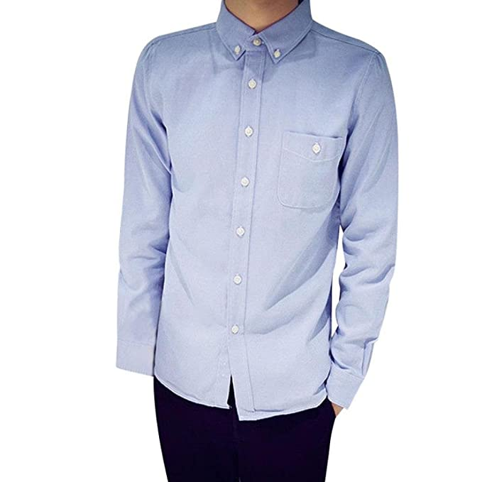 Camisas Slim Fit Hombre, Trajes Camisa Ocasionales Formales Oxford ...