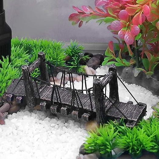 OTENGD Acuario Puente Modelo de Resina Artificial Ornamento ...
