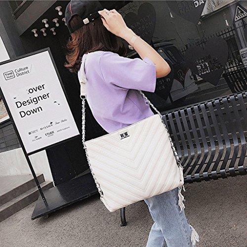Handbag Bolsa de Verano, Nuevo Bolso de Hombro Coreano, Bolsa de Mensajero Simple. Ladies Big Bag. A+ (Color : Cromo) Blanco