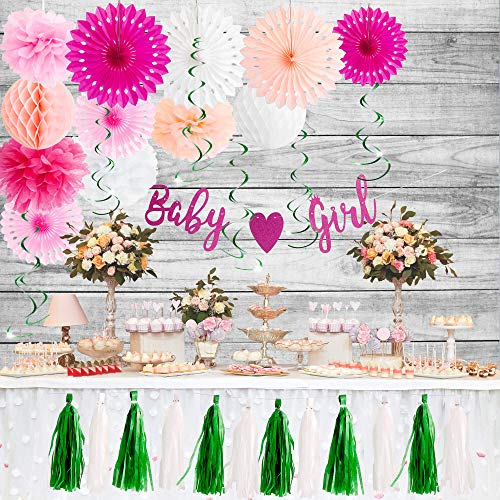Buy Baby Shower Decorations (Baby Shower Decorations for Girl Kit - 31 Pieces Reusable Girl Baby Shower Decorations set with Glitter Banner, Colorful Flower Pompoms, Paper Fans, Garlands and Honeycomb Balls for Girls Themed)