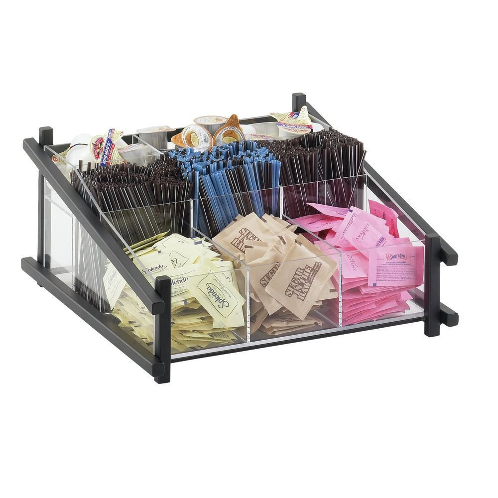 Calmil 1148-13 One by One Condiment Organizer, 14'' Length x 13'' Width x 6.5'' Height, Black