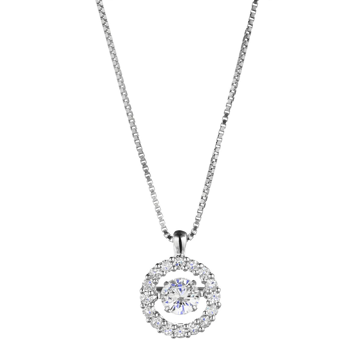 Rhodium-Plated Sterling Silver Moving Pendant, 5.0mm Forever Classic Moissanite By Charles & Colvard by Charles & Colvard