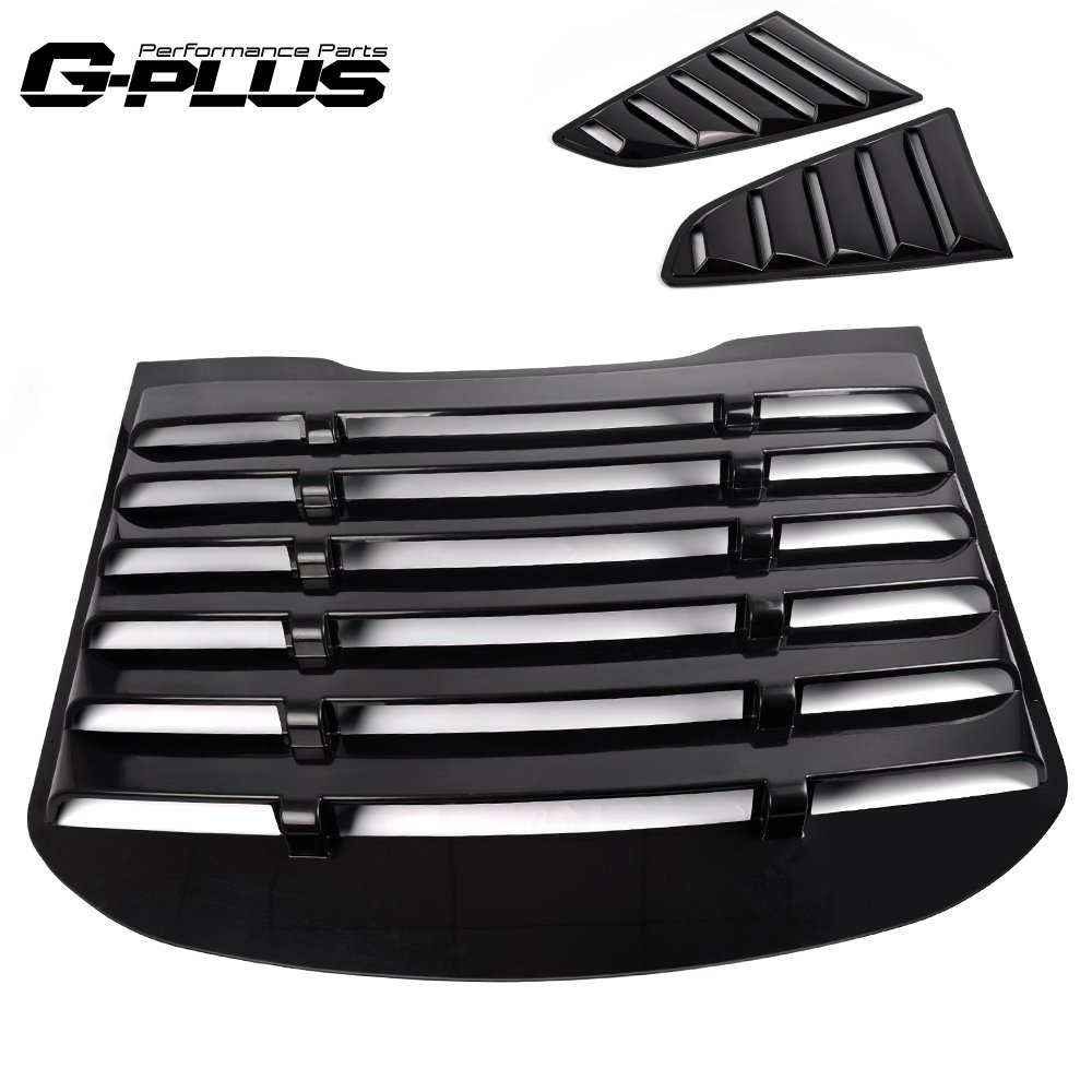 For 2015 2016 2017 2018 Ford Mustang Quarter 1/4 Side Window Scoops Cover Vents + Rear Window Louver Cover Sun shade Cover Gplusmotor