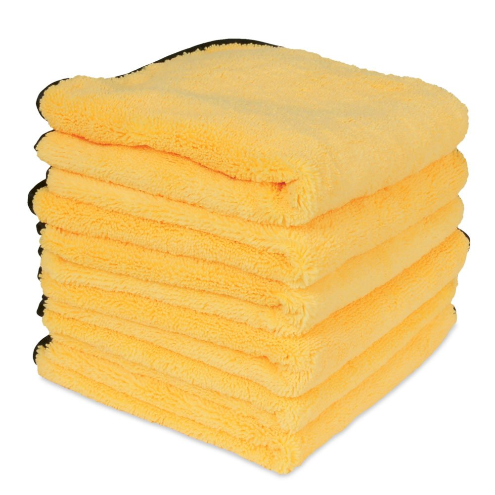 Professional Grade Premium Microfiber Towel : Gold w/ Black Silk Edges 16'' x 16'' (6 Pack)