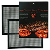 Velesco BBQ Grill Mesh - Set Of 2 Heavy Duty Non-Stick BBQ Grill & Baking Mats - 15.75 x 13 Inch - FDA-Approved, PFOA Free Reusable Grill Accessories - Use on Gas, Charcoal, Electric Barbecue