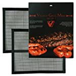 BBQ Grill Mesh Set Of 2 Heavy Duty Non Stick BBQ Grill & Baking Mats 15 75 x 13 Inch FDA Approved PFOA Free Reusable Grill Accessories Use on Gas Charcoal Electric Barbecue