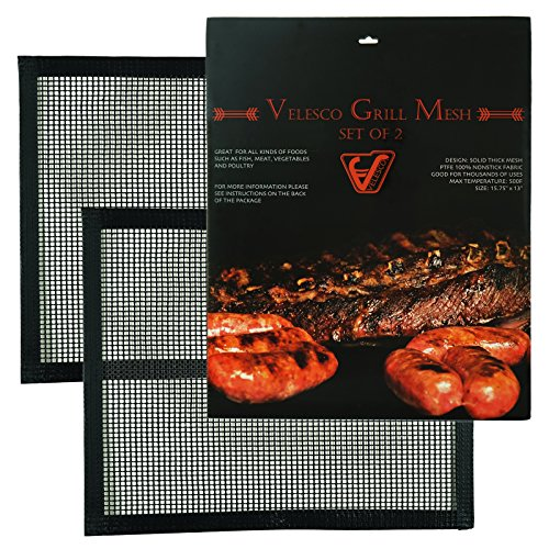 Velesco BBQ Grill Mesh - Set Of 2 Heavy Duty Non-Stick BBQ Grill & Baking Mats - 15.75 x 13 Inch - FDA-Approved, PFOA Free Reusable Grill Accessories - Use on Gas, Charcoal, Electric Barbecue ()