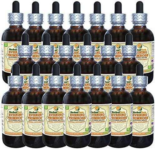 Evening Primrose (Oenothera Biennis) Tincture, Dried Seeds Liquid Extract (Brand Name: HerbalTerra, Proudly Made in USA) 20x4 fl.oz (20x120 ml)