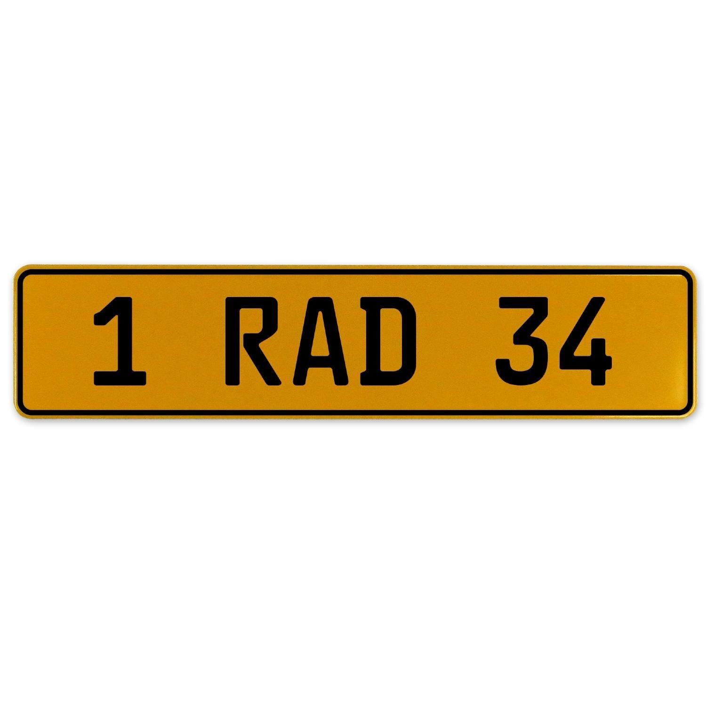 1 RAD 34 Vintage Parts 559086 Yellow Stamped Aluminum European Plate
