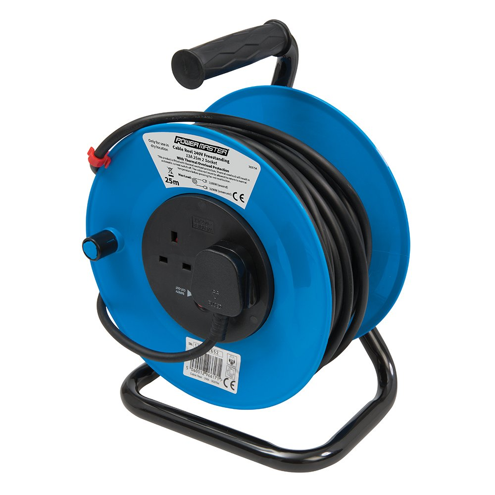 PowerMaster 465510 Cable Reel 240V Freestanding 13A 25m 4 Socket ...