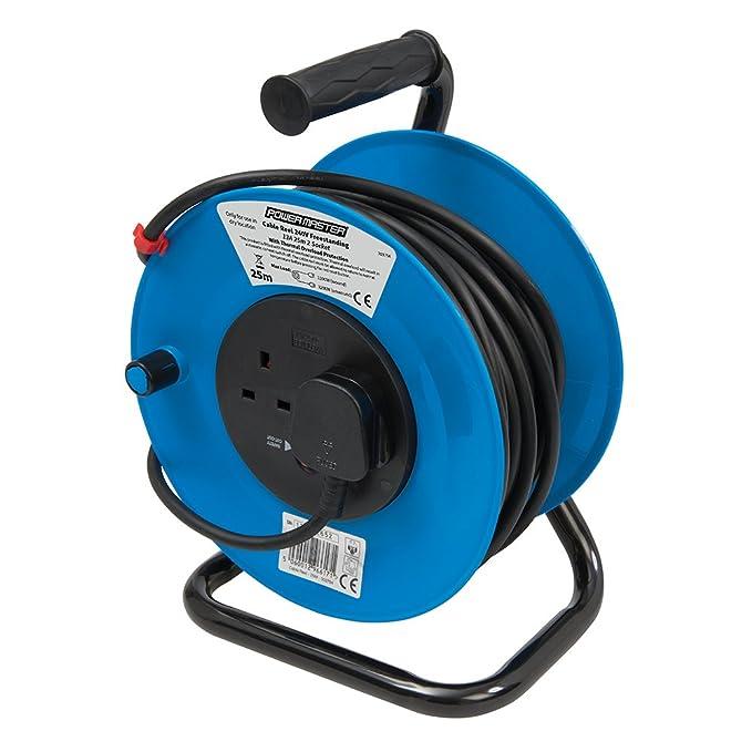 PowerMaster 303754 Cable Reel 240V Freestanding 13A 25m 2 Socket ...