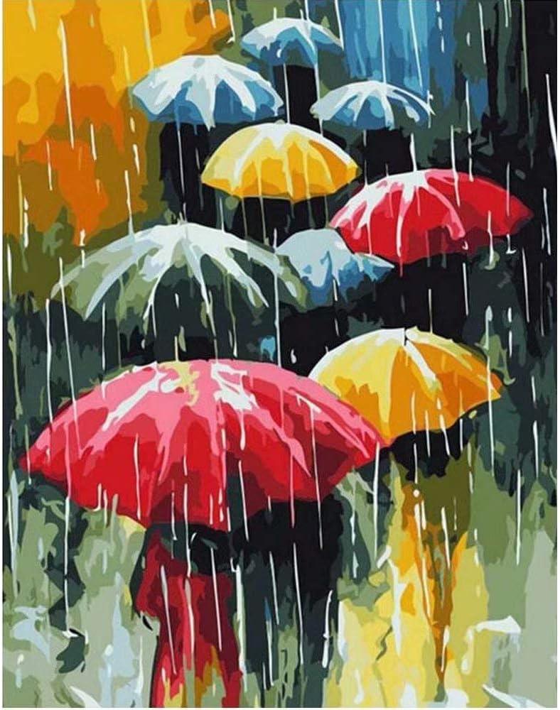 Pintura acrílica por número.(Varios paraguas de colores)