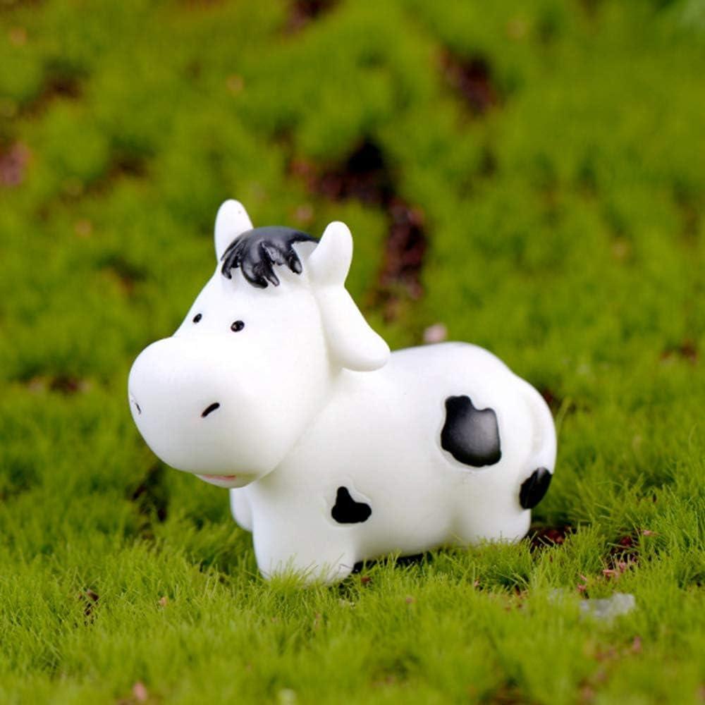 Mini Cow Figurines Fairy Garden Miniature Cattle Farm Figurines Landscape Ornament Plant Dollhouse Decoration Christmas Desk Decoration(3)