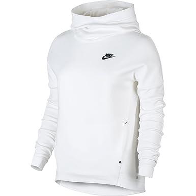 Nike Sportswear Tech Fleece Women's Longsleeve Pullover Hoodie White/Black  844389-100 (Size