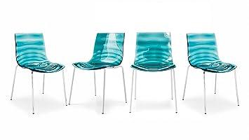 connubia Calligaris Set von 4 Stühle die EAU CB/1273 Chrom/grün ...
