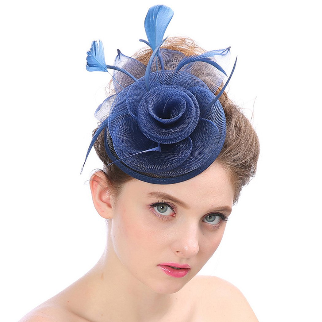 Aukmla Fascinator Top Hat Billycock Feather Party Hat Flower Derby Hat with Clip