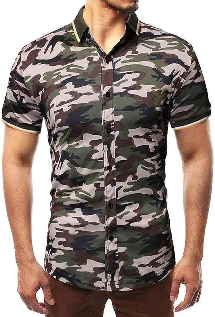 Joe Wenko Men Comfy Cargo Lapel Neck Slim Curved Hem Button Down Shirts