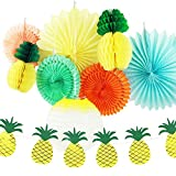 SUNBEAUTY Pack of 9 Yellow Orange Green Tissue Paper Decorative Kit for Luau Party Summer Beach Photo Backdrop Decoration (Style 1)